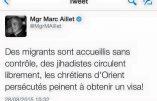 Immigration, djihadisme, chrétiens d'Orient : le tweet de Mgr Aillet