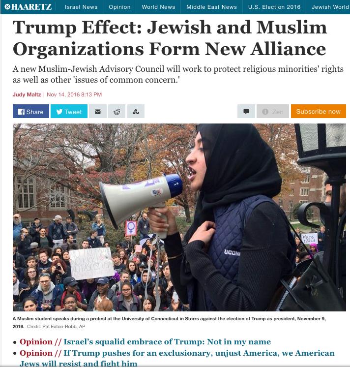 haaretz-juifs-musulmans-contre-trump