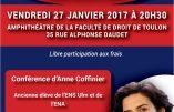27 janvier 2017 à Toulon – Conférence d'Anne Coffinier : «Famille, Etat & éducation»