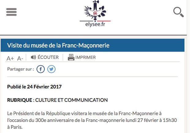 François Hollande réaffirmera cet après-midi son attachement à la franc-maçonnerie