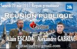 20 mai 2017, région grenobloise – Réunion publique avec Alain Escada et Alexandre Gabriac