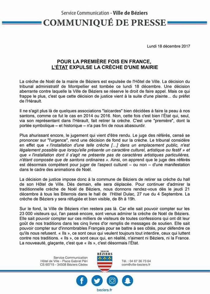 Haineusement antichrétien, l'Etat expulse la crèche de Noël de la Mairie de Béziers Beziers-etat-vs-creche