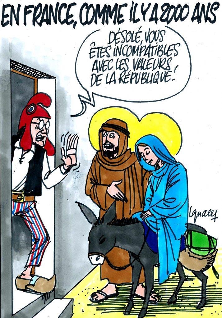 Haineusement antichrétien, l'Etat expulse la crèche de Noël de la Mairie de Béziers Ignace_creches_interdites_republique_noel_menard_beziers-mpi-714x1024