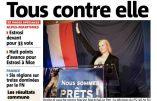 """L'ignoble Nice Matin représente Marion Maréchal Le Pen le bras levé (cf salut nazi) et titre """"Tous contre elle"""""""