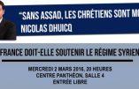2 mars – conférence «La France doit-elle soutenir le régime syrien ?»