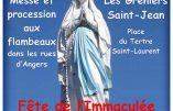 Procession en l'honneur de l'Immaculée Conception dans les rues d'Angers le 8 décembre