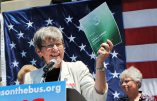 Sister Simone Campbell speaks during the 2012 Nuns on the Bus tour. Photo courtesy of NETWORK