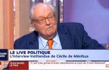 Jean-Marie Le Pen donne son opinion sur le changement de nom du Front national, parle de féminisme, d'immigration, de sa petite-fille Marion etc