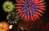Cluster of colorful Fourth of July fireworks