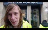 Action des Gilets Jaunes devant la Banque Monte Dei Paschi