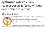 Pourquoi ils parlent de «reconstruction» de Notre-Dame de Paris : le plan maçonnique
