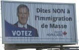 """Canada – Censure des affiches """"Dites NON à l'immigration de Masse"""""""