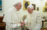 "(FILES) This file handout picture taken and released by Vatican Media on December 21, 2018, shows Pope Francis (L) meeting with Pope Benedict XVI (R) at the Vatican. - Former pope Benedict XVI has publicly urged his successor Pope Francis not to open the Catholic priesthood up to married men, in a plea that stunned Vatican experts on January 12, 2020. (Photo by Handout / VATICAN MEDIA / AFP) / RESTRICTED TO EDITORIAL USE - MANDATORY CREDIT ""AFP PHOTO / VATICAN MEDIA"" - NO MARKETING NO ADVERTISING CAMPAIGNS - DISTRIBUTED AS A SERVICE TO CLIENTS ---"