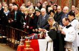 Marion Maréchal-Le Pen jany jean marie le pen et Bruno Gollnisch lors des    obseques de roger holeindre a l eglise saint roch a Paris le 06/02/2020 Photo sebastien soriano/ Le Figaro