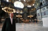 """This handout picture released by the Turkish Presidential press office shows Turkish President Tayyip Erdogan visiting Hagia Sophia monument in Istanbul, on July 19, 2020. - Turkey's Hagia Sophia will open to visitors outside prayer times and its Christian icons will remain, religious officials said on July 14, 2020 after a court ruling paved the way for it to become a mosque. Hagia Sophia was a cathedral for nearly 1,000 years before being converted into a mosque in 1453 and a museum in 1935. (Photo by Handout / TURKISH PRESIDENTIAL PRESS SERVICE / AFP) / RESTRICTED TO EDITORIAL USE - MANDATORY CREDIT """"AFP PHOTO / HO / TURKISH PRESIDENTIAL PRESS OFFICE"""" - NO MARKETING - NO ADVERTISING CAMPAIGNS - DISTRIBUTED AS A SERVICE TO CLIENTS"""