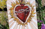 Pyrogravure et peinture – Le Sacré-Cœur de Notre-Seigneur Jésus-Christ
