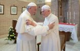 In this photo taken on June 28, 2017, Pope Francis embraces Emeritus Pope Benedict XVI, at the Vatican. The Vatican is denying a German tabloid report that suggested that Emeritus Pope Benedict XVI is suffering from a neurological disease. (L'Osservatore Romano/Pool Photo via AP)