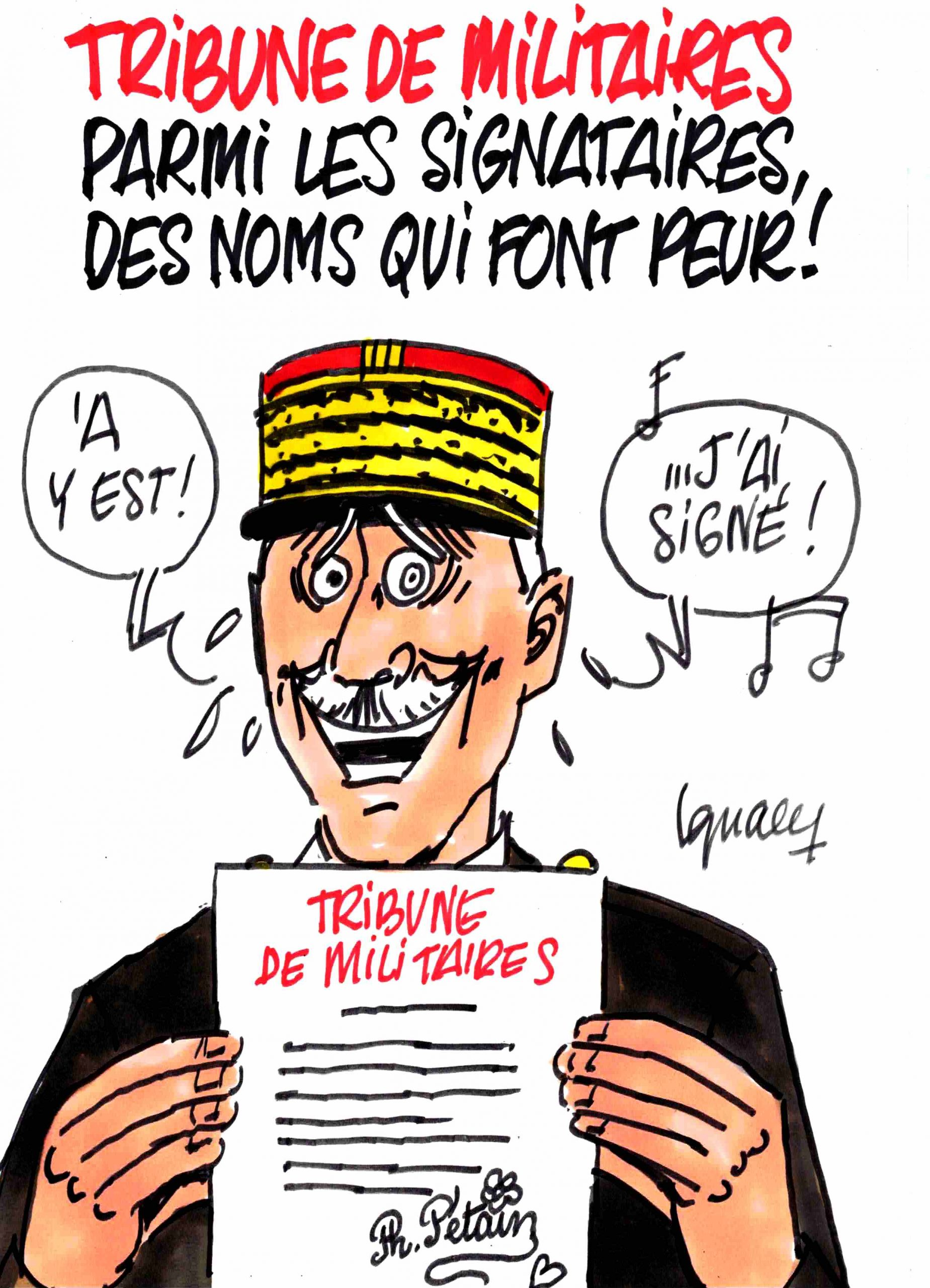 Ignace - Tribune de militaires avec des signatures qui font peur