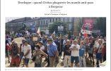Sud-Ouest titre sur la remarquable visibilité de Civitas dans les cortèges des manifestations anti-pass à Bergerac