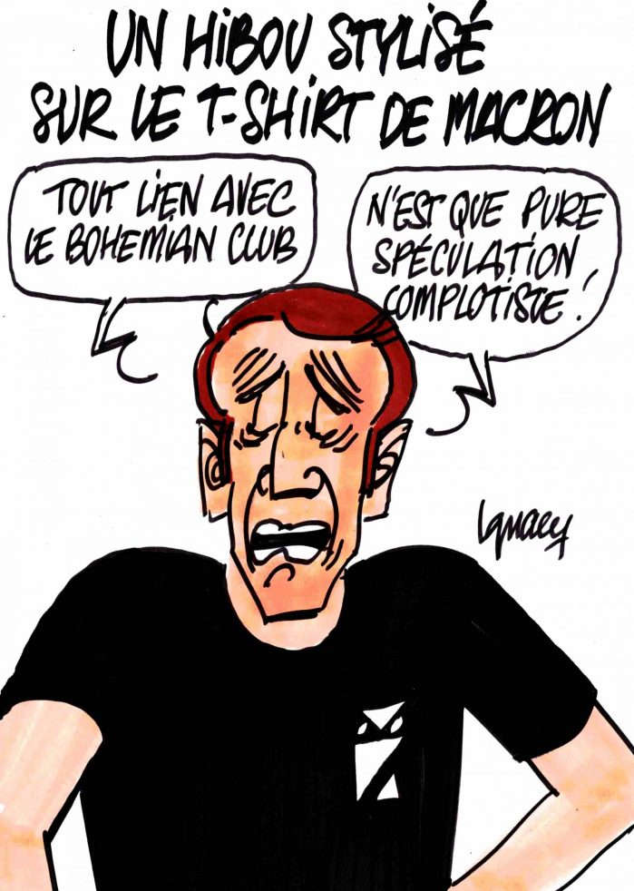 Ignace - Un hibou stylisé sur le T-shirt de Macron