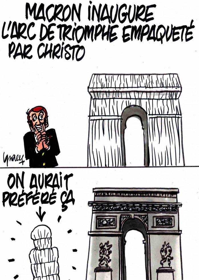 Ignace - Macron et l'Arc de triomphe empaqueté par Christo