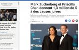 Le richissime fondateur de Facebook et son épouse tiennent à financer «des causes juives»